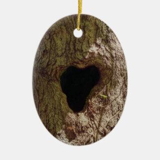 Arbre de coeur ornement ovale en céramique