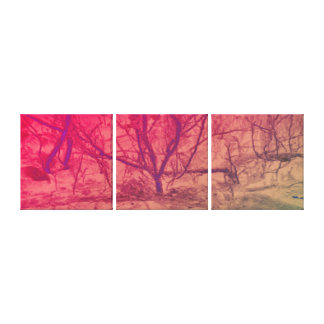 Arbre de coucher du soleil de rose d'art abstrait toile