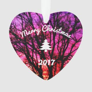 Arbre de coucher du soleil d'hiver - arbre de Noël