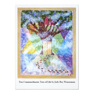 Arbre de Dix commandements de la vie - Judy Rey Carton D'invitation 16,51 Cm X 22,22 Cm