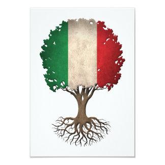 Arbre de drapeau de la vie italien personnalisable carton d'invitation 8,89 cm x 12,70 cm