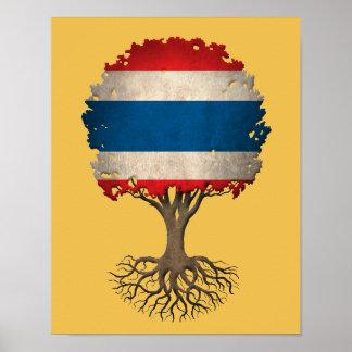 Arbre de drapeau de la vie thaïlandais affiches