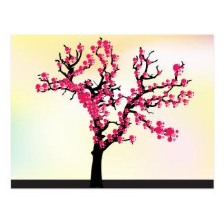 Arbre de fleurs de cerisier de rose japonais carte postale