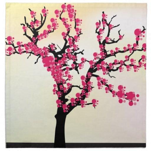 Arbre de fleurs de cerisier de rose japonais serviette - Arbre japonais rose ...