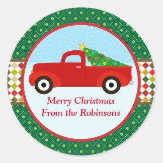 Arbre de Joyeux Noël dans un autocollant de camion