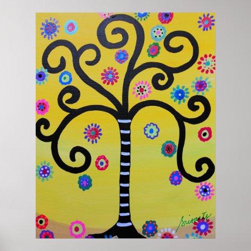 arbre de la peinture de la vie posters zazzle. Black Bedroom Furniture Sets. Home Design Ideas