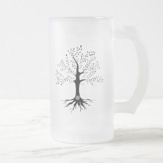 Arbre de la vie frosted glass beer mug
