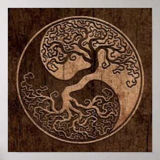 Arbre de la vie Yin Yang avec l'effet en bois de g Posters