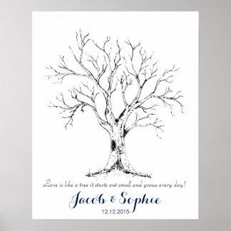 arbre de livre d'invité de mariage d'empreinte posters