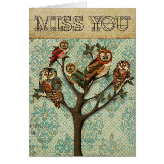 Arbre de Mlle You Card de hiboux Carte De Vœux
