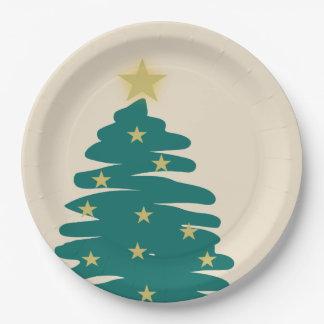 Arbre de Noël avec des étoiles Assiettes En Papier