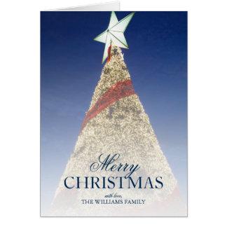 Arbre de Noël avec l'étoile blanche de birght en Carte De Vœux