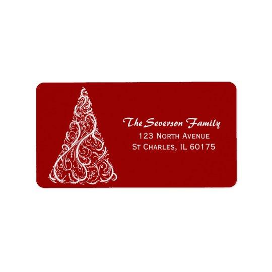 Arbre de Noël blanc sur l'adresse de retour rouge Étiquette D'adresse