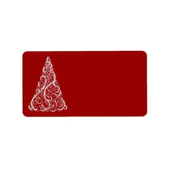 Arbre de Noël blanc sur le rouge Étiquette D'adresse