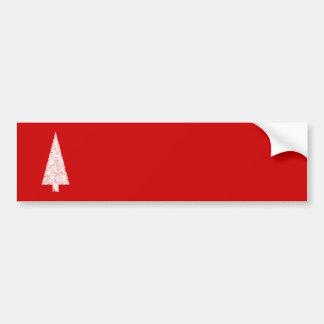 Arbre de Noël blanc. Sur le rouge. Moderne Autocollant Pour Voiture