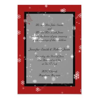 Arbre de Noël dans le faire,part de mariage rouge