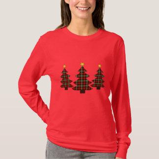 Arbre de Noël d'art populaire de plaid T-shirt