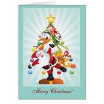 Arbre de Noël de caractères de Noël Carte De Vœux