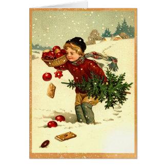 Arbre de Noël de transport de garçon victorien Carte De Vœux