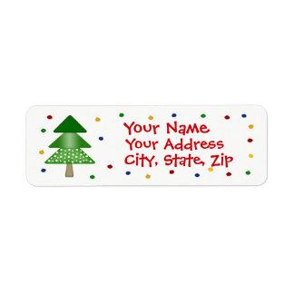 Arbre de Noël et étiquette de adresse de retour