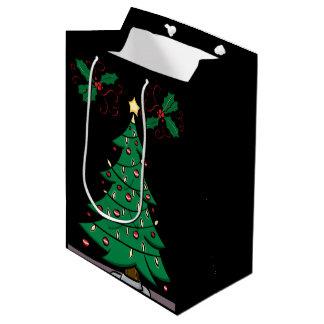 Arbre de Noël et sac de cadeau de houx
