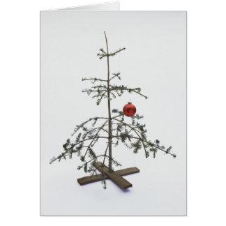 Arbre de Noël nu avec l'ornement simple Carte De Vœux