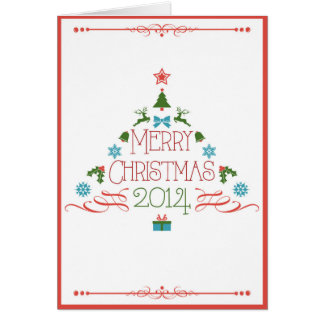 Arbre de Noël rouge Carte De Vœux