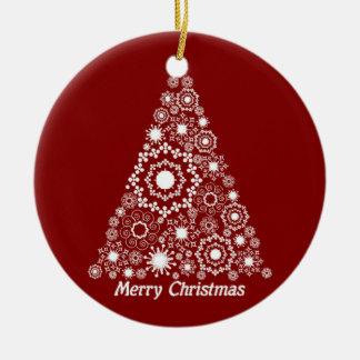 Arbre de Noël rouge et blanc Ornement Rond En Céramique