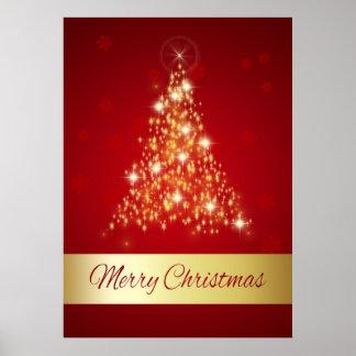Arbre de Noël rougeoyant - affiche