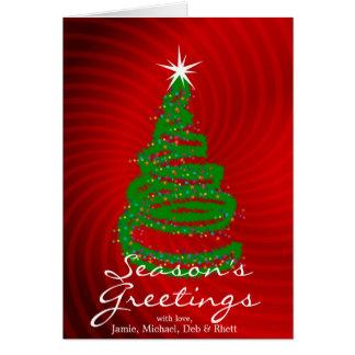 Arbre de Noël sur l'arrière - plan tourbillonnant Carte De Vœux