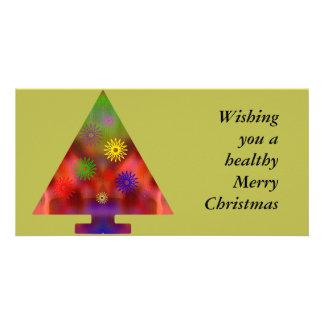 Arbre de Noël - triangle décorée Photocarte Personnalisée