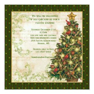 Arbre de Noël vintage, invitation de partie de