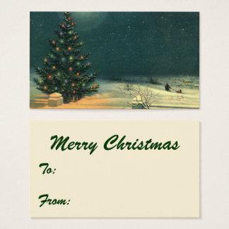 Arbre de Noël vintage la nuit avec des lumières Cartes De Visite