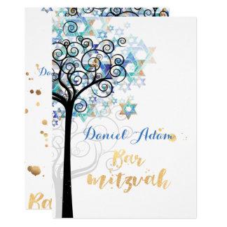Arbre de PixDezines de barre Mitzvah de la vie Carton D'invitation 12,7 Cm X 17,78 Cm