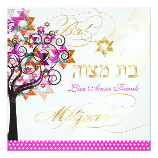 Arbre de PixDezines de la vie+Étoiles bat mitzvah Faire-parts