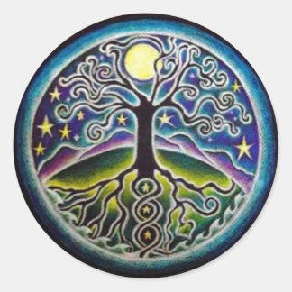 Arbre de pleine lune de mandala Sticke de nuit Sticker Rond