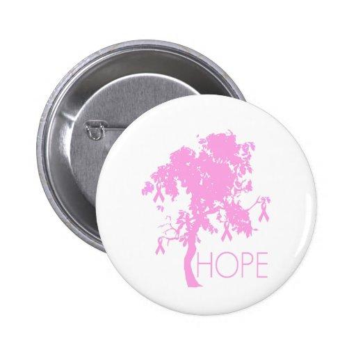 Arbre de ruban rose d'espoir badge