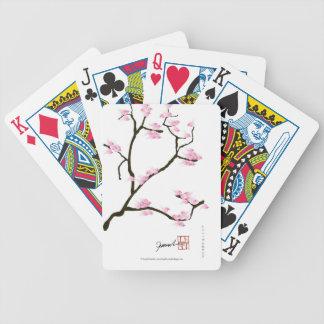arbre de Sakura et fernandes élégants d'oiseaux Jeu De Poker