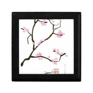 arbre de Sakura et fernandes élégants d'oiseaux Petite Boîte À Bijoux Carrée