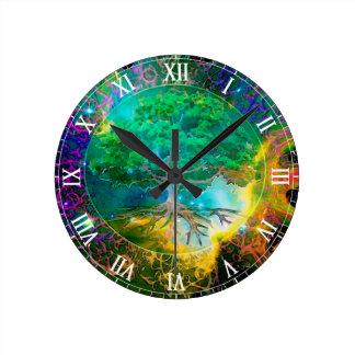 Arbre de santé et de vitalité de la vie horloge ronde