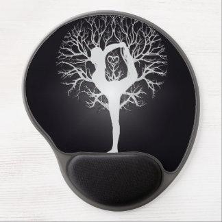 Arbre de yoga en noir et blanc tapis de souris gel