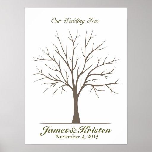 Arbre d'empreinte digitale de mariage - classique posters