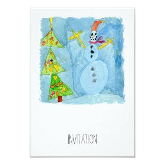 Arbre et bonhomme de neige de Noël Carton D'invitation 8,89 Cm X 12,70 Cm