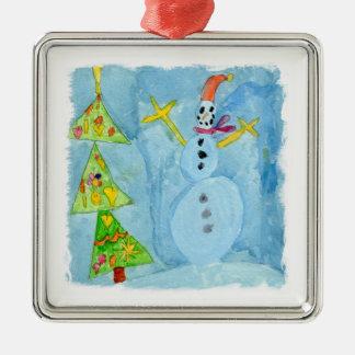 Arbre et bonhomme de neige de Noël Ornement Carré Argenté