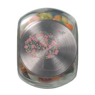 Arbre et oiseaux de floraison dans l'amour pots en verre pour bonbons