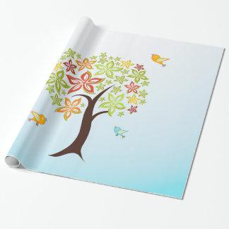 Arbre et oiseaux papiers cadeaux