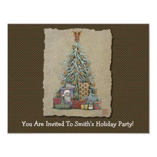 Arbre et présents de Noël Carton D'invitation 10,79 Cm X 13,97 Cm