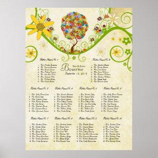 Arbre floral enchanté de conte de fées de poster