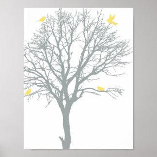 Arbre généalogique avec les oiseaux jaunes affiche