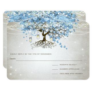 Arbre léger de feuille de coeur de bleu de poudre carton d'invitation 8,89 cm x 12,70 cm